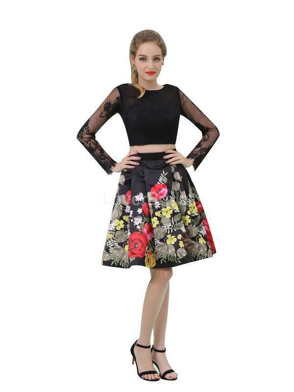 Two Pieces Long Sleeves Black Cheap Homecoming Dresses Online, Cheap Short Prom Dresses, CM806