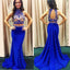 Two Pieces Royal Blue Mermaid Evening Prom Dresses, 2017 Long Sexy Halter Party Prom Dress, Custom Long Prom Dress, Cheap Party Prom Dress, Formal Prom Dress, 17032