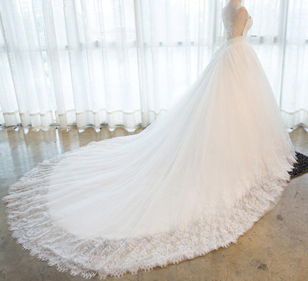 Two Straps Back See Through Lace Beaded Sweetheart Neckline A line Long Tail Wedding Bridal Dresses, Custom Made Wedding Dresses, Affordable Wedding Bridal Gowns, WD267