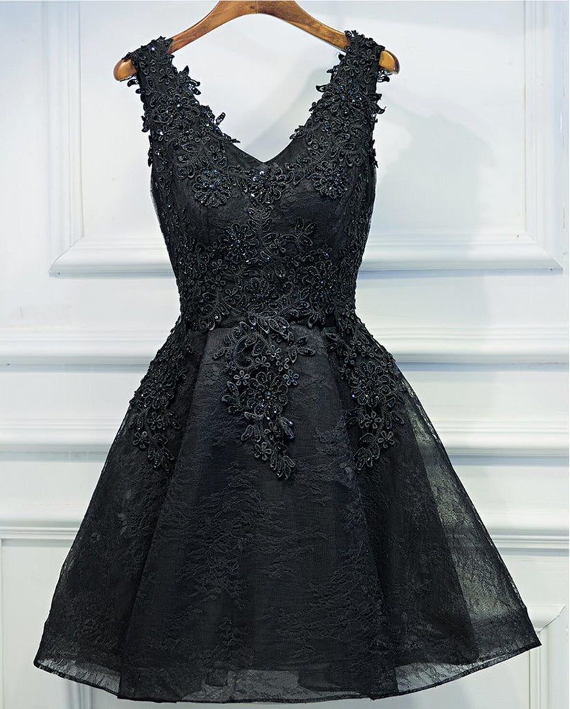 Two Straps Black Lace Heavily Beaded Homecoming Prom Dresses, Affordable Short Party Prom Dresses, Perfect Homecoming Dresses, CM264