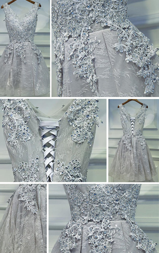 Two Straps Gray Lace Beaded Homecoming Prom Dresses, Affordable Short Party Prom Dresses, Perfect Homecoming Dresses, CM263