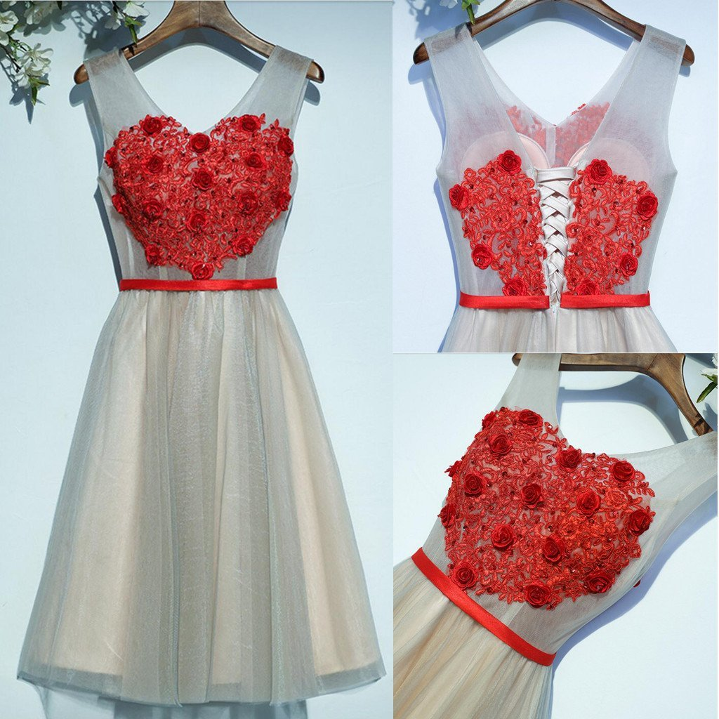 Two Straps V Neckline Red Lace Tulle Homecoming Prom Dresses, Affordable Corset Back Short Party Prom Dresses, Perfect Homecoming Dresses, CM243