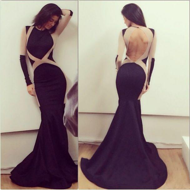Unique Black Mermaid Long Sleeve Sexy Backless Long Prom Dress, WG525