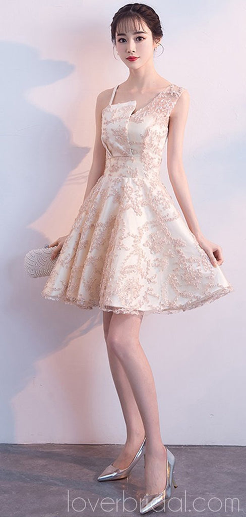 Unique Champagne Lace Cheap Homecoming Dresses Online, Cheap Short Prom Dresses, CM794