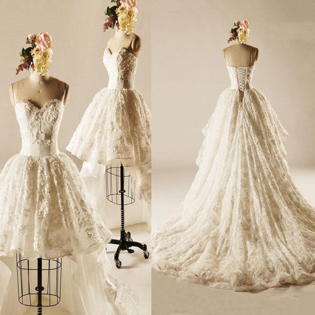 Unique Hi-low Sweetheart Lace Wedding Dresses, Popular Lace Up Bridal Gown, WD0003