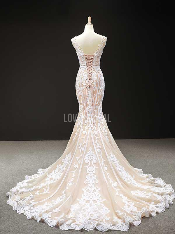 Unique Lace Mermaid Long Evening Prom Dresses, Evening Party Prom Dresses, 12239