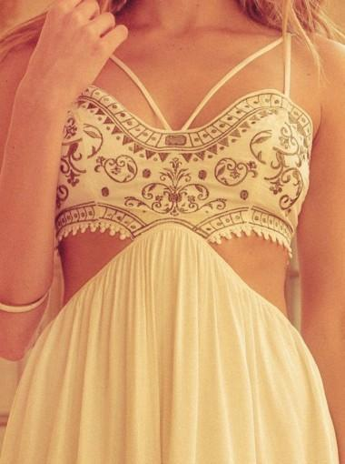 Unique Spaghetti Straps Embroidery Custom Long Evening Prom Dresses, 17720
