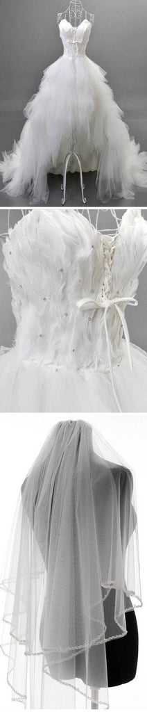 Unique Style Hi-low Sweetheart White Tulle Spaghetti Wedding Dresses With Feather, WD0067