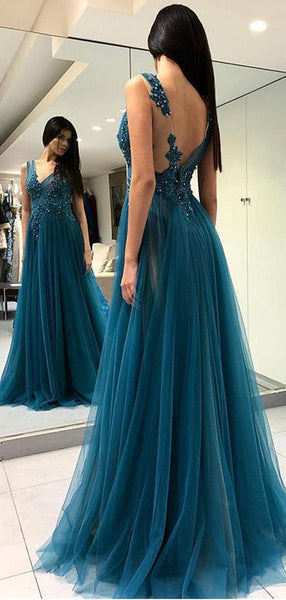 Unique Teal V Neck Side Slit A-line Long Evening Prom Dresses, Cheap Sweet 16 Dresses, 18350