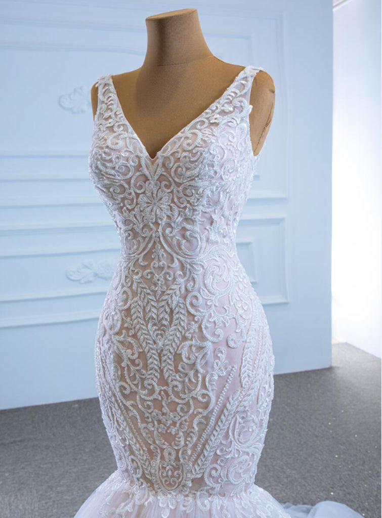 Unique V Neck Lace Mermaid Wedding Dresses, Cheap Wedding Gown, WD722
