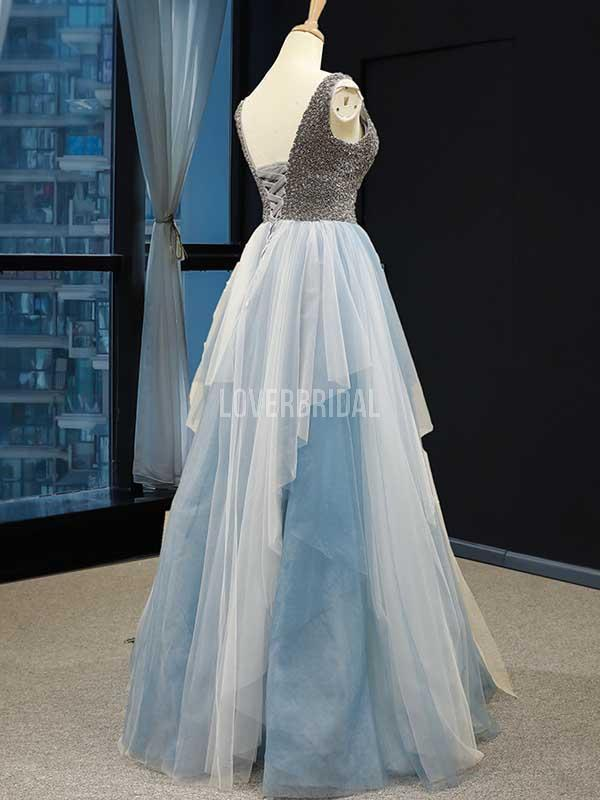 Unique V neck Ruffle Blue Long Evening Prom Dresses, Evening Party Prom Dresses, 12229