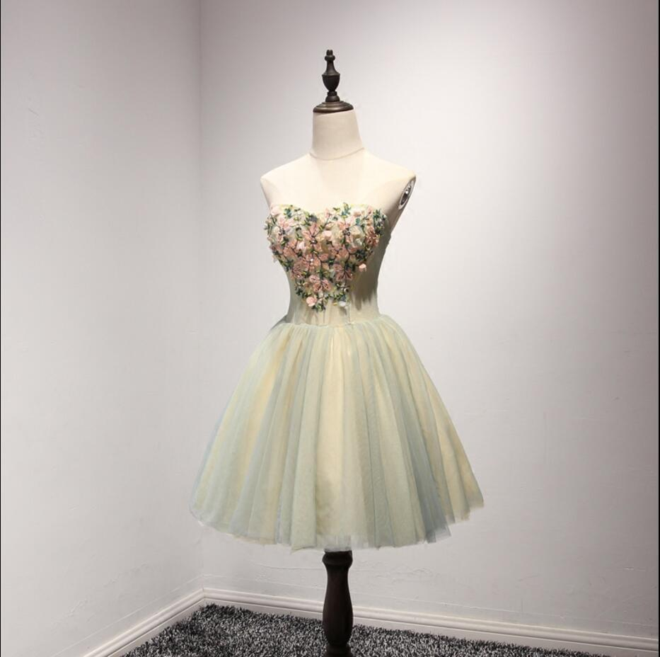 Unique Yellow and Green Sweetheart Homecoming Prom Dresses,  Short Party Prom Dresses, Perfect Homecoming Dresses, CM203