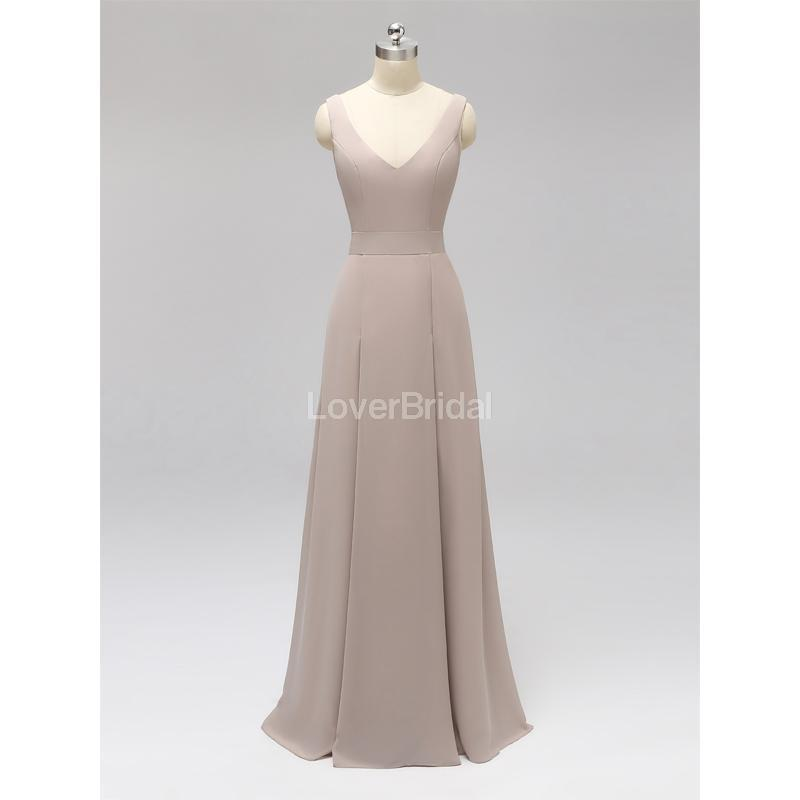 V Neck Back Bow Backless Chiffon Long Cheap Bridesmaid Dresses Online, WG594