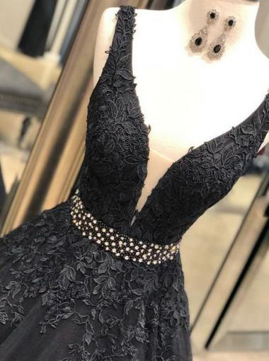 V-neck Black Lace Beaded A-line Long Evening Prom Dresses, Cheap Custom Sweet 16 Dresses, 18553