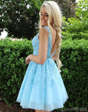 V Neck Blue Lace Short Cheap Homecoming Dresses Online, CM822