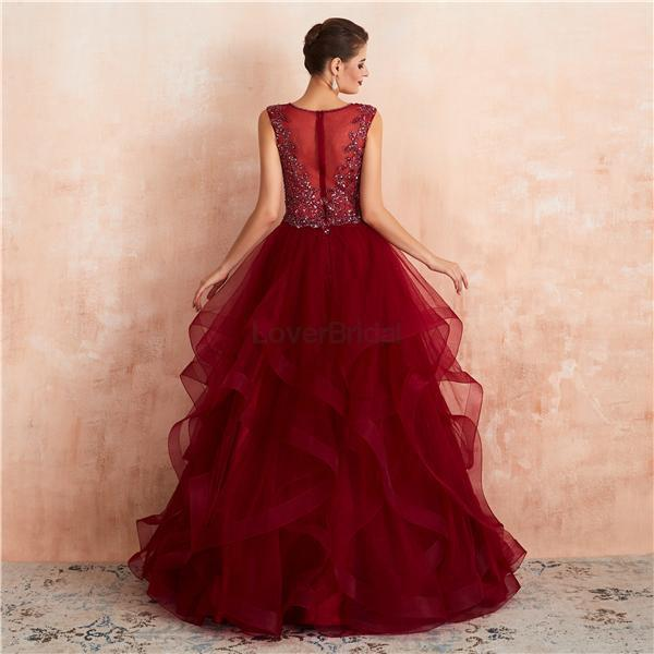 V Neck Dark Red Beaded Ball Gown Evening Prom Dresses, Evening Party Prom Dresses, 12136