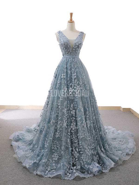 V Neck Dusty Blue Lace Long Evening Prom Dresses, Evening Party Prom Dresses, 12230