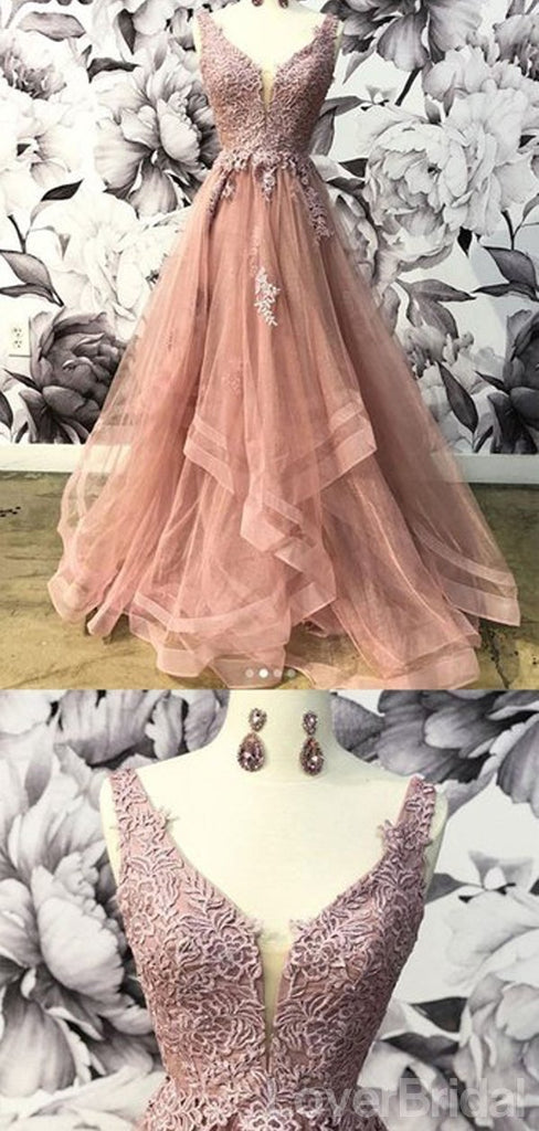 V-neck Dusty Peach Tulle A-line Long Evening Prom Dresses, Cheap Party Custom  Prom Dresses, 18624