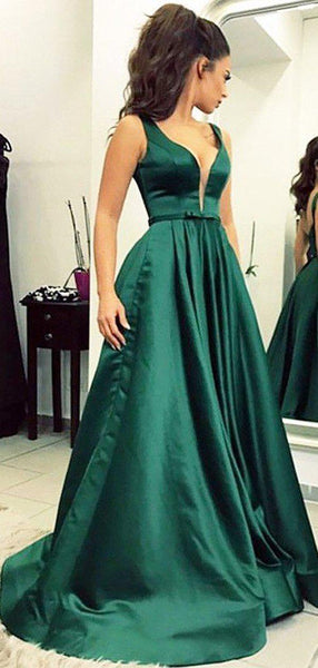 V Neck Emerald Green Cheap Long Evening Prom Dresses, Evening Party Prom Dresses, 12346