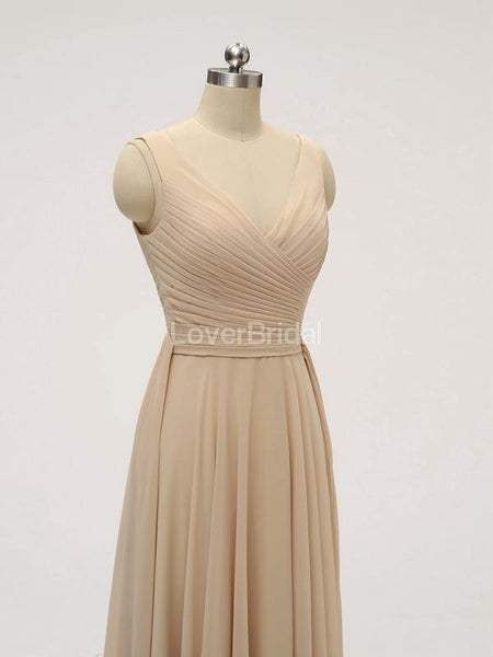 V Neck Floor Length Chiffon Grey Cheap Bridesmaid Dresses Online, WG585
