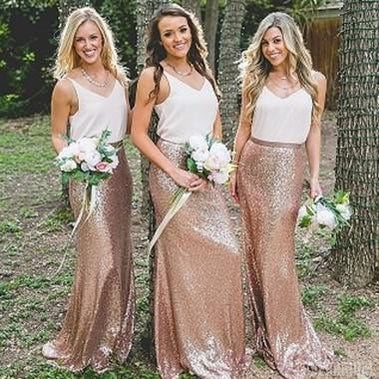 V Neck Gold Sequin Skirt Long Cheap Bridesmaid Dresses, WG102