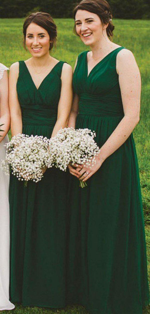 V Neck Green Chiffon Cheap Bridesmaid Dresses Online, WG768
