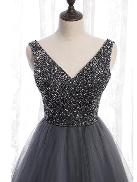 V Neck Grey Beaded Tulle Long Cheap Evening Prom Dresses, Evening Party Prom Dresses, 12331