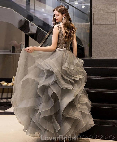 V Neck Grey Heavily Beaded Ruffle Ball Gown Evening Prom Dresses, Evening Party Prom Dresses, 12208