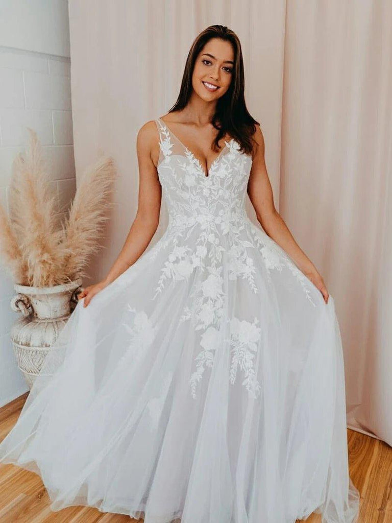 V Neck Lace A-line Cheap Wedding Dresses, Cheap Wedding Gown, WD703