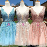 V Neck Lace Beaded Belt Cheap Homecoming Dresses Online, Cheap Short Prom Dresses, CM817