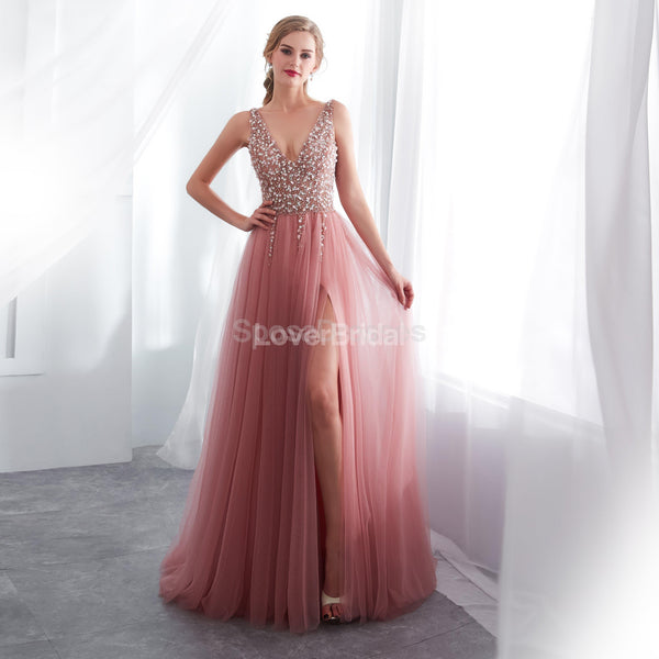V Neck Lace Beaded Peach Evening Prom Dresses, Evening Party Prom Dresses, 12022