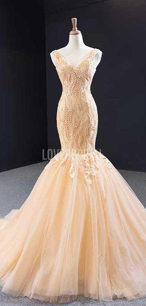 V Neck Lace Mermaid Long Evening Prom Dresses, Evening Party Prom Dresses, 12237