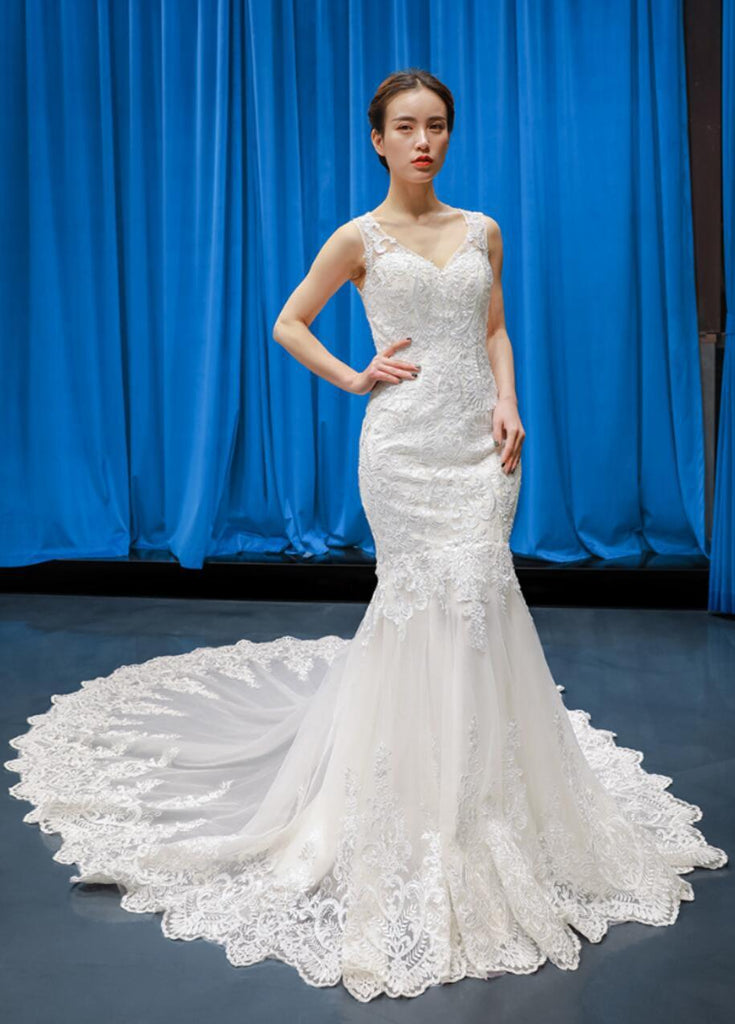 V Neck Lace Mermaid Wedding Dresses, Cheap Wedding Gown, WD721