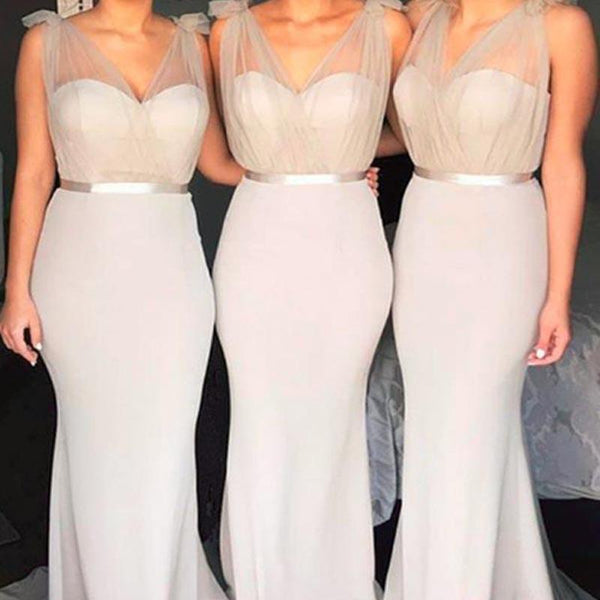 V Neck Mermaid Grey Long Cheap Bridesmaid Dresses Online, WG259