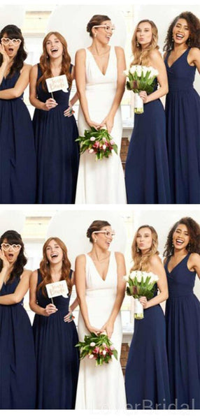 V Neck Navy Blue Chiffon Long Cheap Bridesmaid Dresses Online, WG609