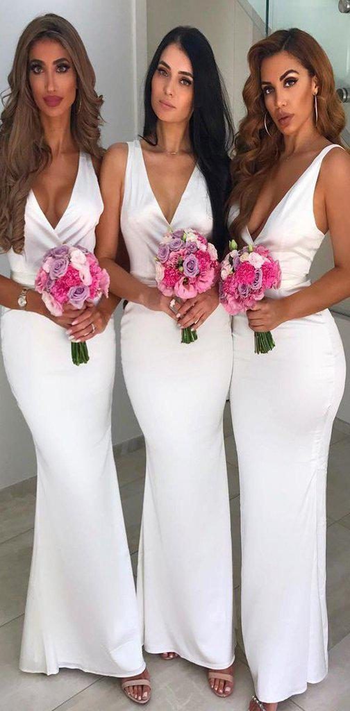 V Neck Off White Sexy Cheap Long Bridesmaid Dresses Online, WG577