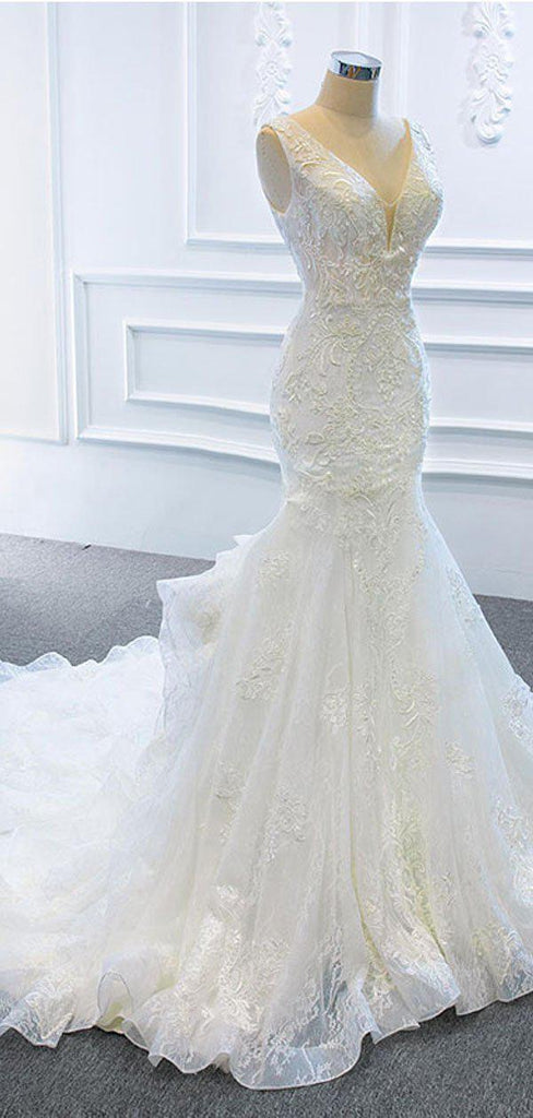 V Neck Organza Lace Mermaid Wedding Dresses, Cheap Wedding Gown, WD725