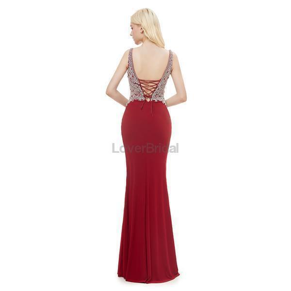 V Neck Red Mermaid Beaded Evening Prom Dresses, Evening Party Prom Dresses, 12055
