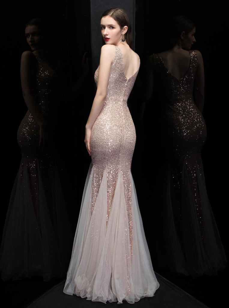 V Neck Rose Gold V Neck Mermaid Long Evening Prom Dresses, Evening Party Prom Dresses, 12322