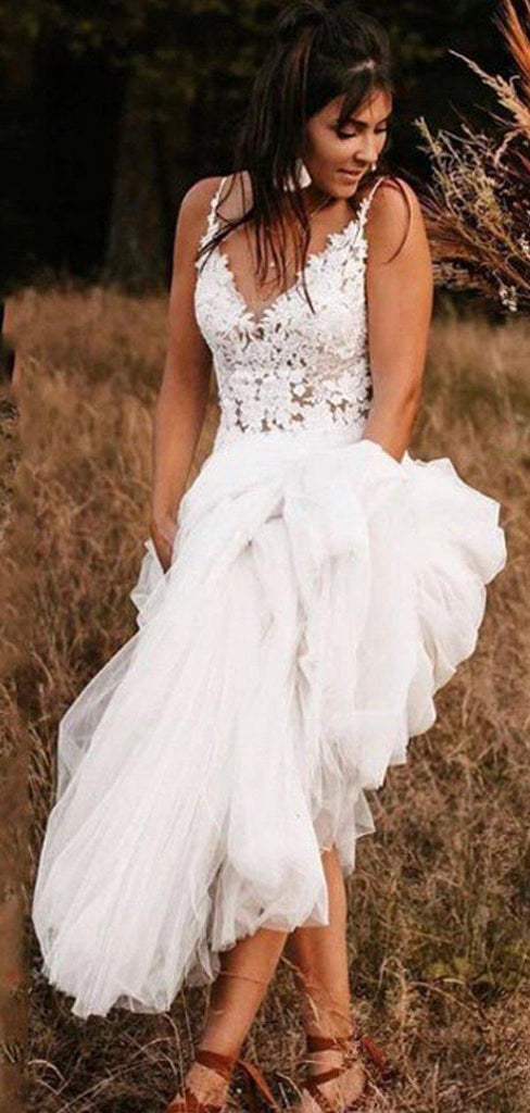 V Neck See Through Cheap Beach Wedding Dresses Online, Cheap Bridal Dresses, WD650