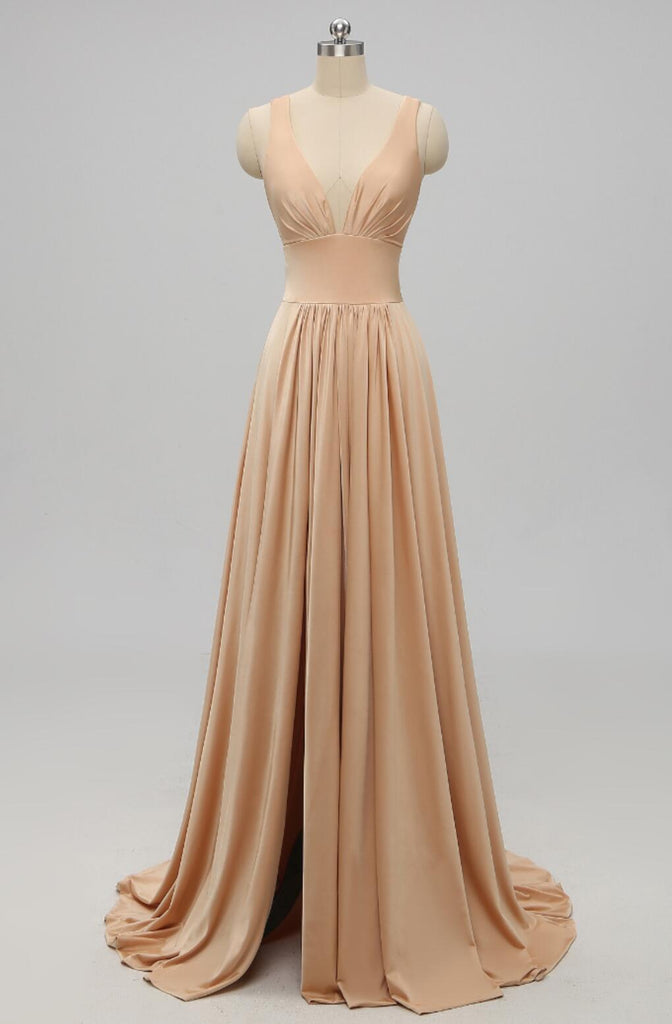 V Neck Side Slit Cheap Long Bridesmaid Dresses Online, WG292