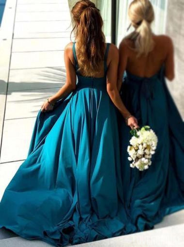 V Neck Side Slit Chiffon Teal Affordable Long Bridesmaid Dresses, WG378