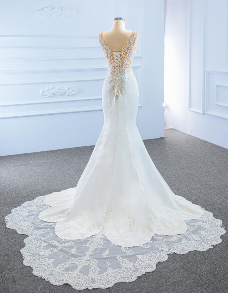 V Neck Side Slit Lace Mermaid Wedding Dresses, Cheap Wedding Gown, WD723
