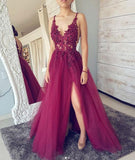 V neck Side Slit Purple See Through Lace Cheap  Long Prom Dresses, Cheap Party Evening Dresses, WG282