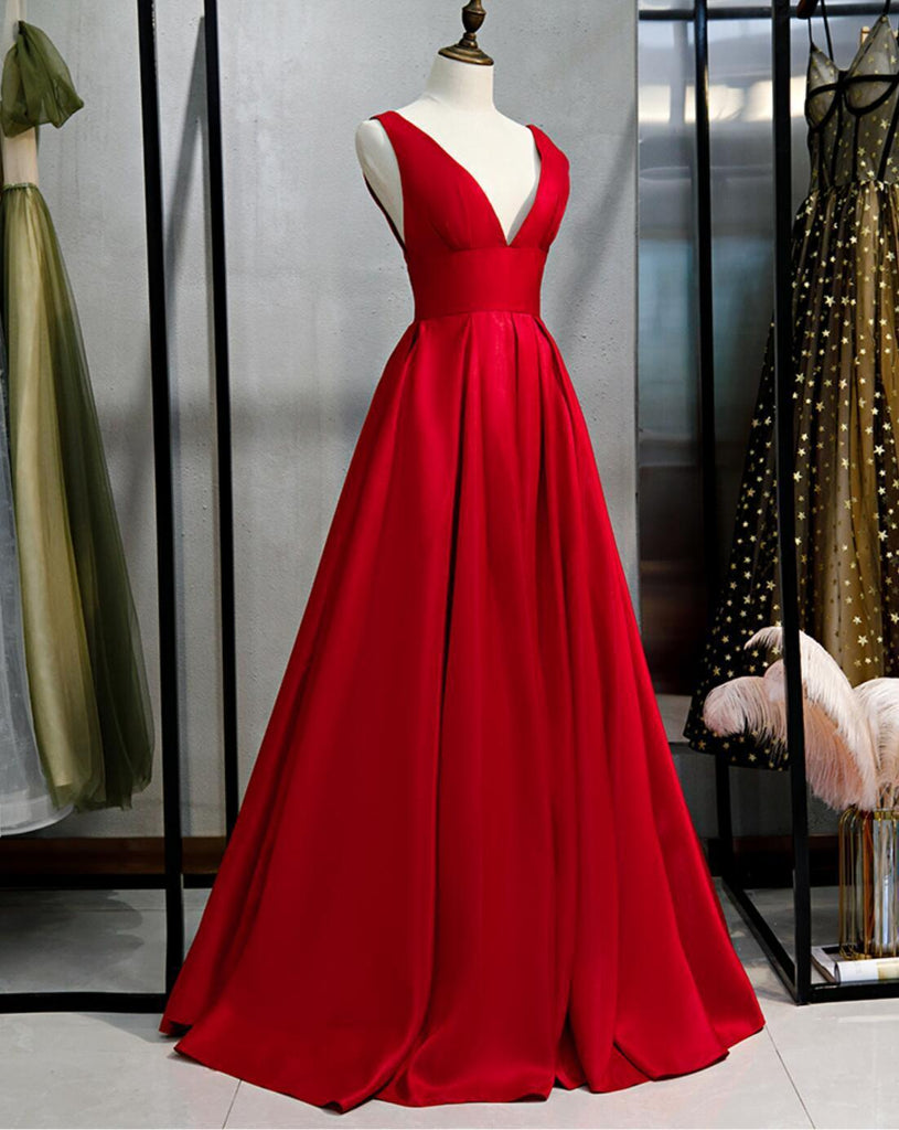 V Neck Simple Red A-line Long Evening Prom Dresses, Evening Party Prom Dresses, 12332