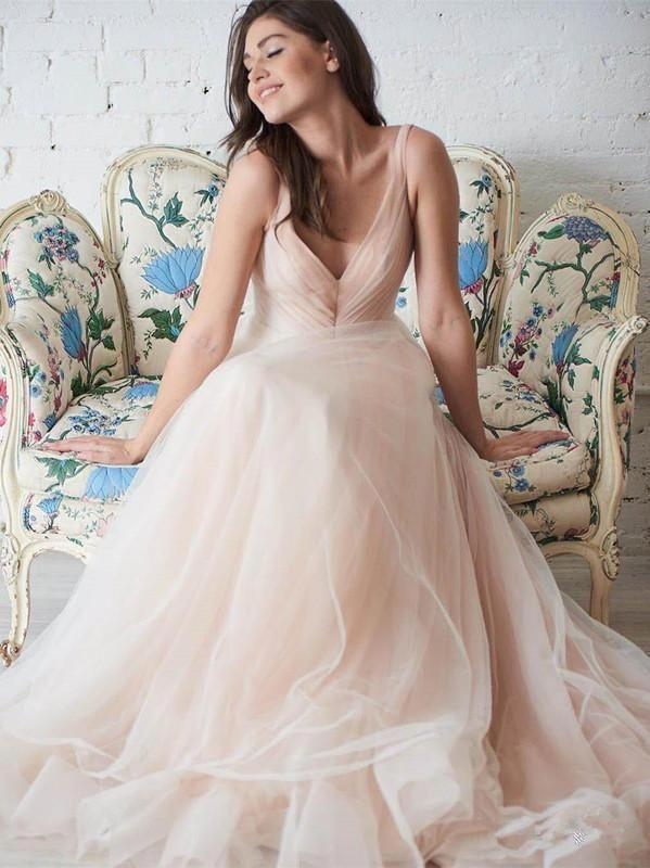 V Neck Simple Tulle A-line Cheap Wedding Dresses, Mermaid Wedding Gown, WD702