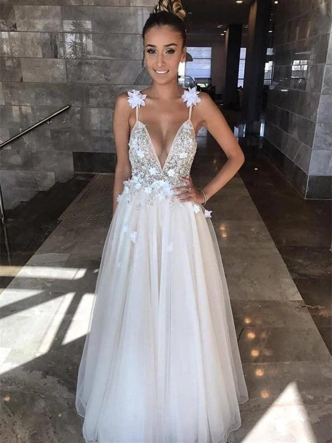 V Neck Spaghetti Straps Beading A-line Wedding Dresses, Cheap Wedding Gown, WD694