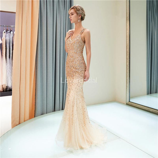 V Neck Sparkly Gold Rhinestone Beaded Mermaid Evening Prom Dresses, Evening Party Prom Dresses, 12035