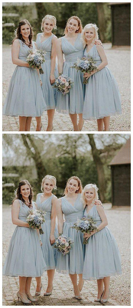 V neck Straps Short Chiffon Custom Cheap Bridesmaid Dresses, WG240