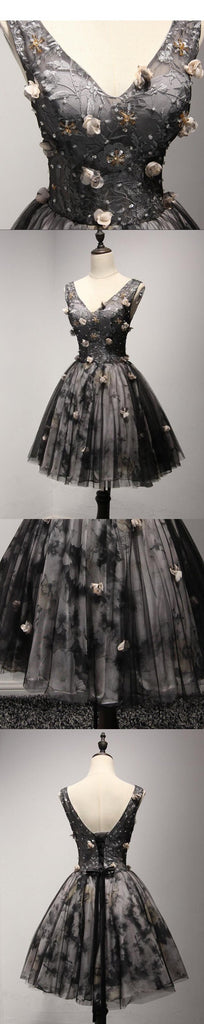 V Neckline Short Black Lace Homecoming Prom Dresses,  Short Party Prom Dresses, Perfect Homecoming Dresses, CM205